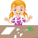 cartoon-little-girl-making-paper-people-vector-25604319